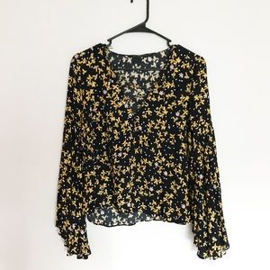 Zara Basics Blue & Yellow Bell Sleeve Blouse